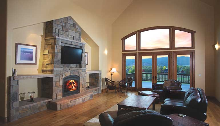 Living room view of custom home project at 4108 Crystal Bridge