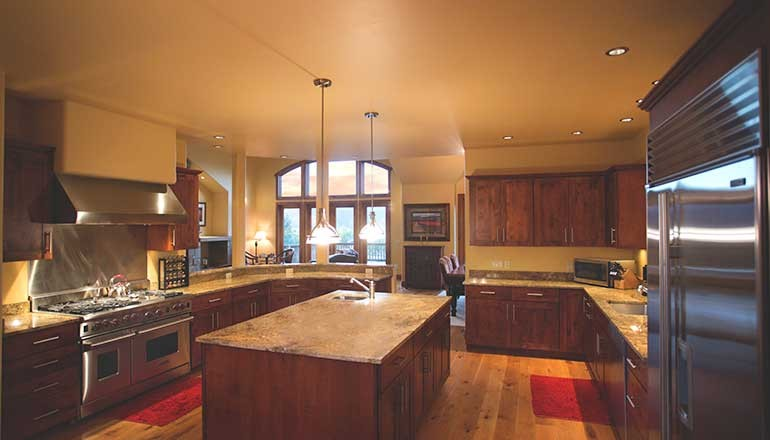 Interior shot of new kitchen by aspen built homes