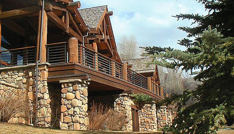 Porch view of aspen custom home
